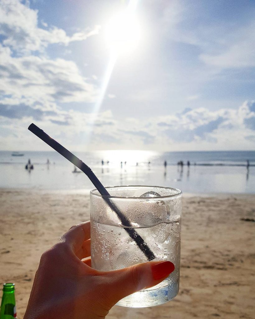 Sitting on Jimbaran Beach waiting on the sun to set