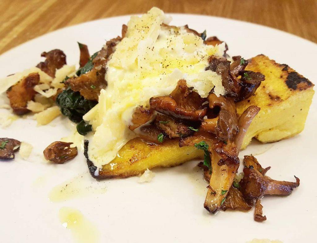 Girolles Grilled Polenta Creme Fraiche amp Spinach at sardinelondon