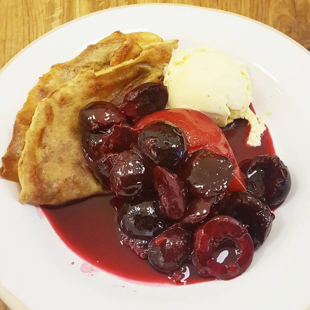 Crepes Cherries and Plum with the most incredible Apricot Kernelhellip