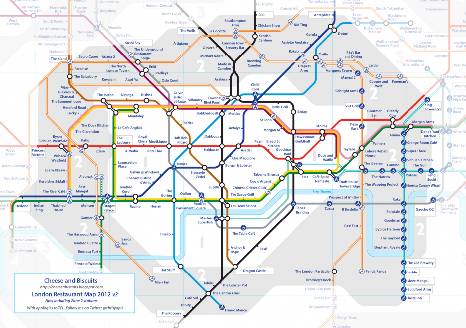 i love this london restaurant tube map that chris pople from cheese and biscuits has come up with each tube station has been re named with the best