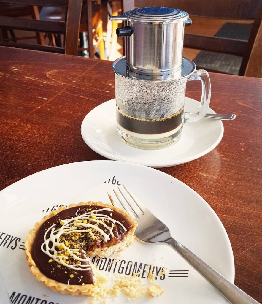 Vietnamese coffee and salted caramel tart with pistachios on ahellip
