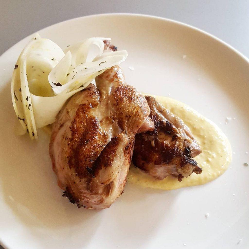 Roast quail hazelnut sauce and kohlrabi