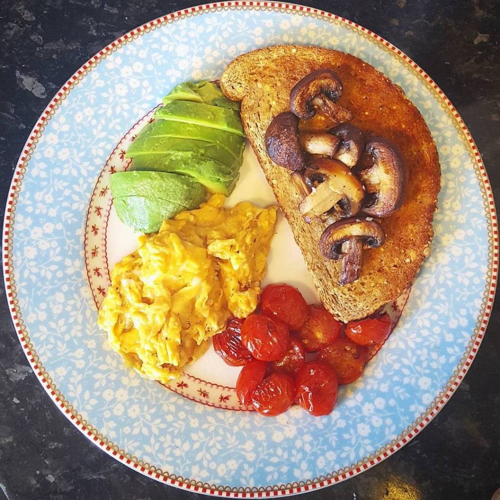Veggie breakfast of chestnut mushrooms avocado grilled tomatoes and scrambledhellip