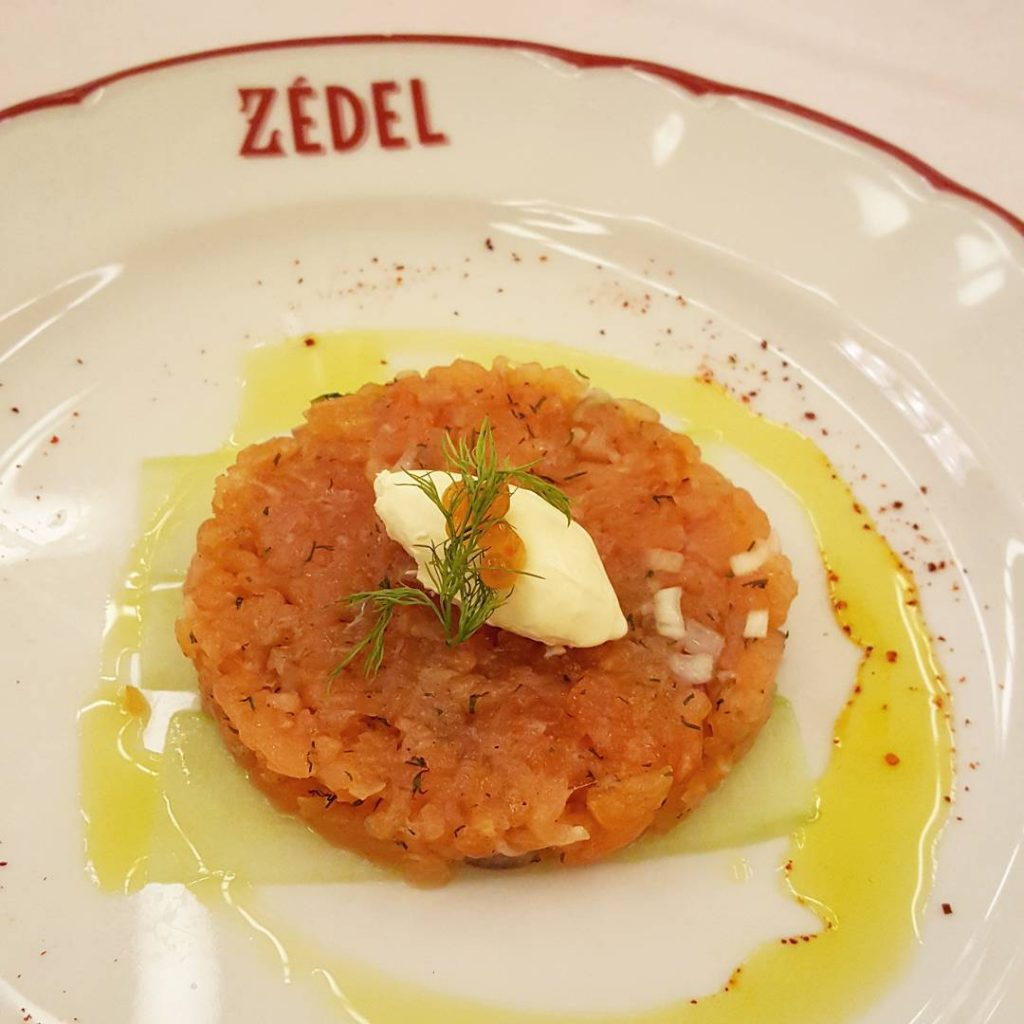 Salmon tartare at Zedel