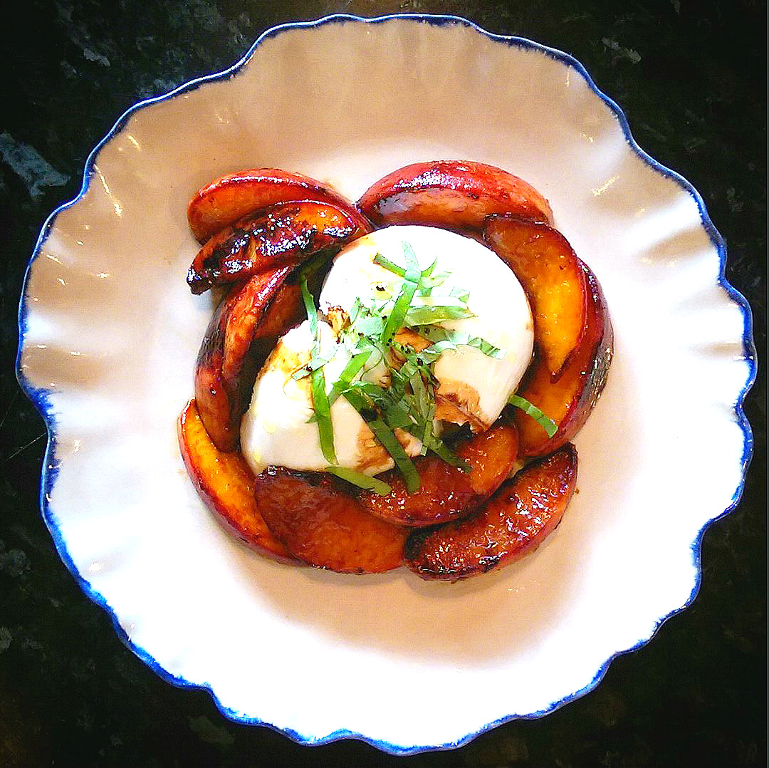 Peaches and burrata