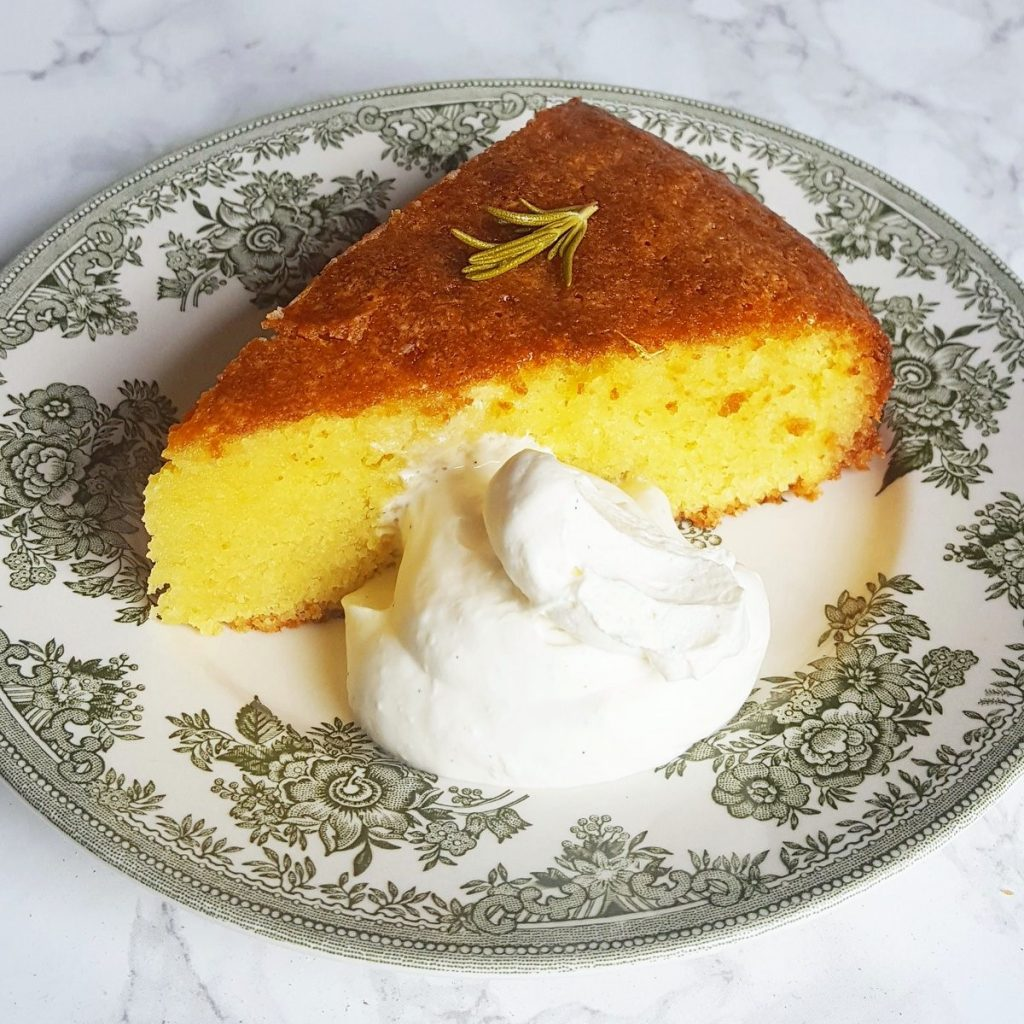 almond cake with cream