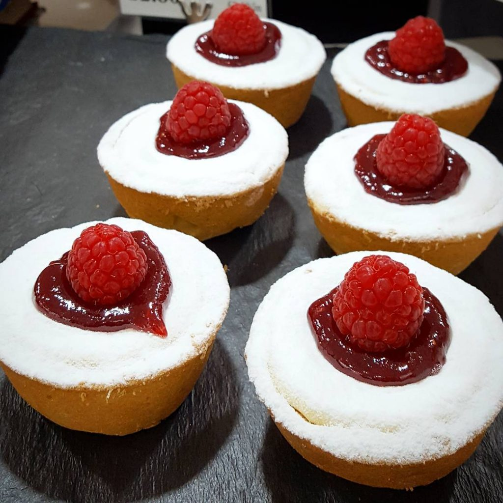 Lovely white chocolate and raspberry cheesecakes from My Home Bakeryhellip