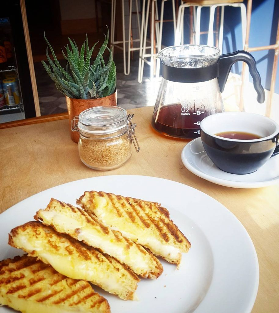 Cheese toastie and Aeropress coffee at southsideroasters