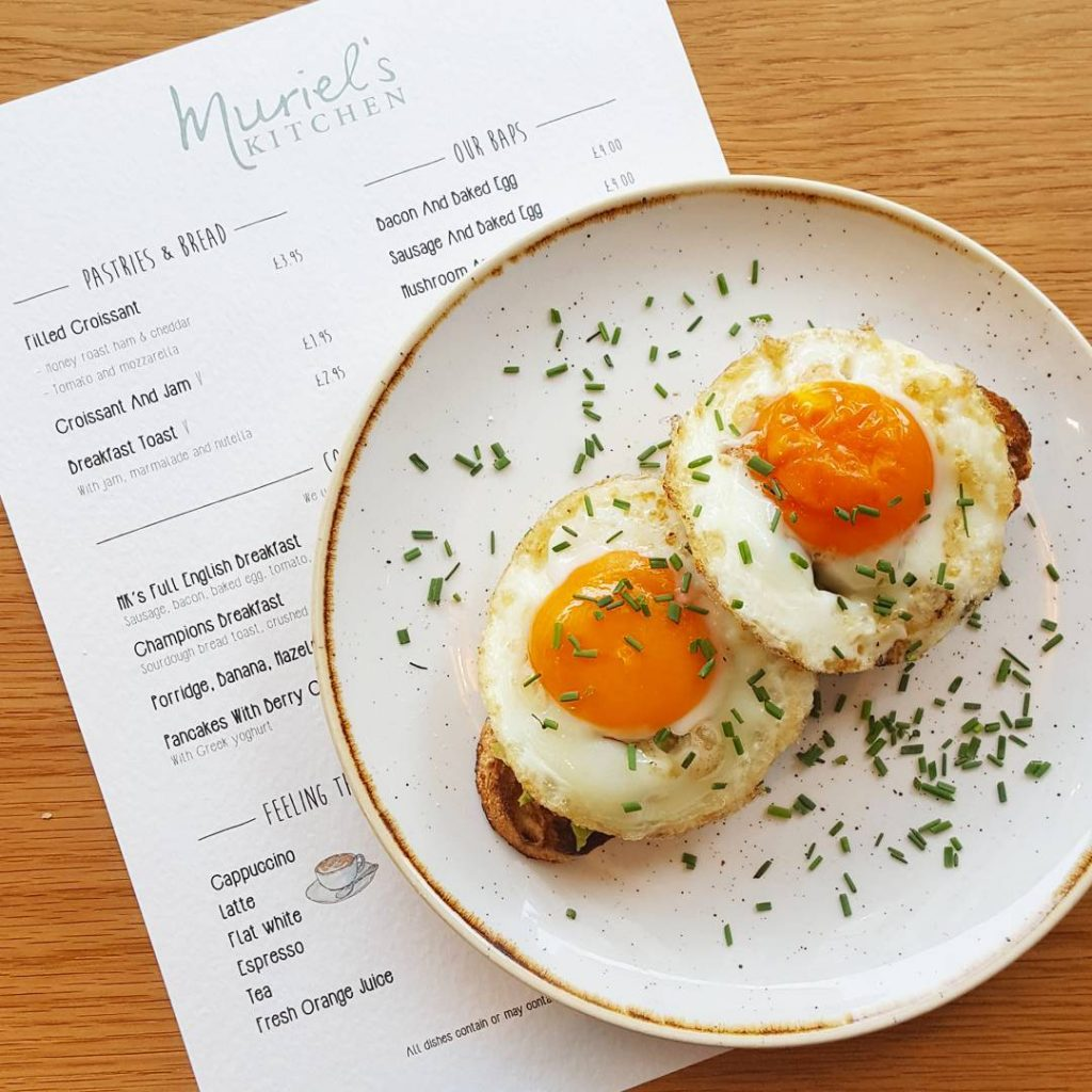 Smashed avocado and baked eggs on sourdough at murielskitchen