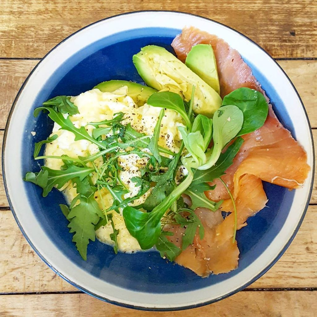 Scrambled eggs smoked salmon and avocado at williamcafeglasgow