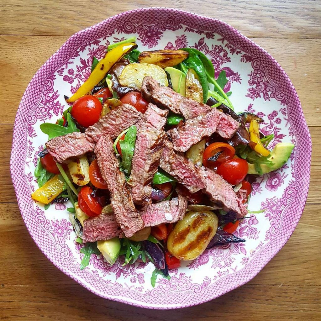 Cracking steak salad for dinner tonight Mixed leaves cherry tomatoeshellip