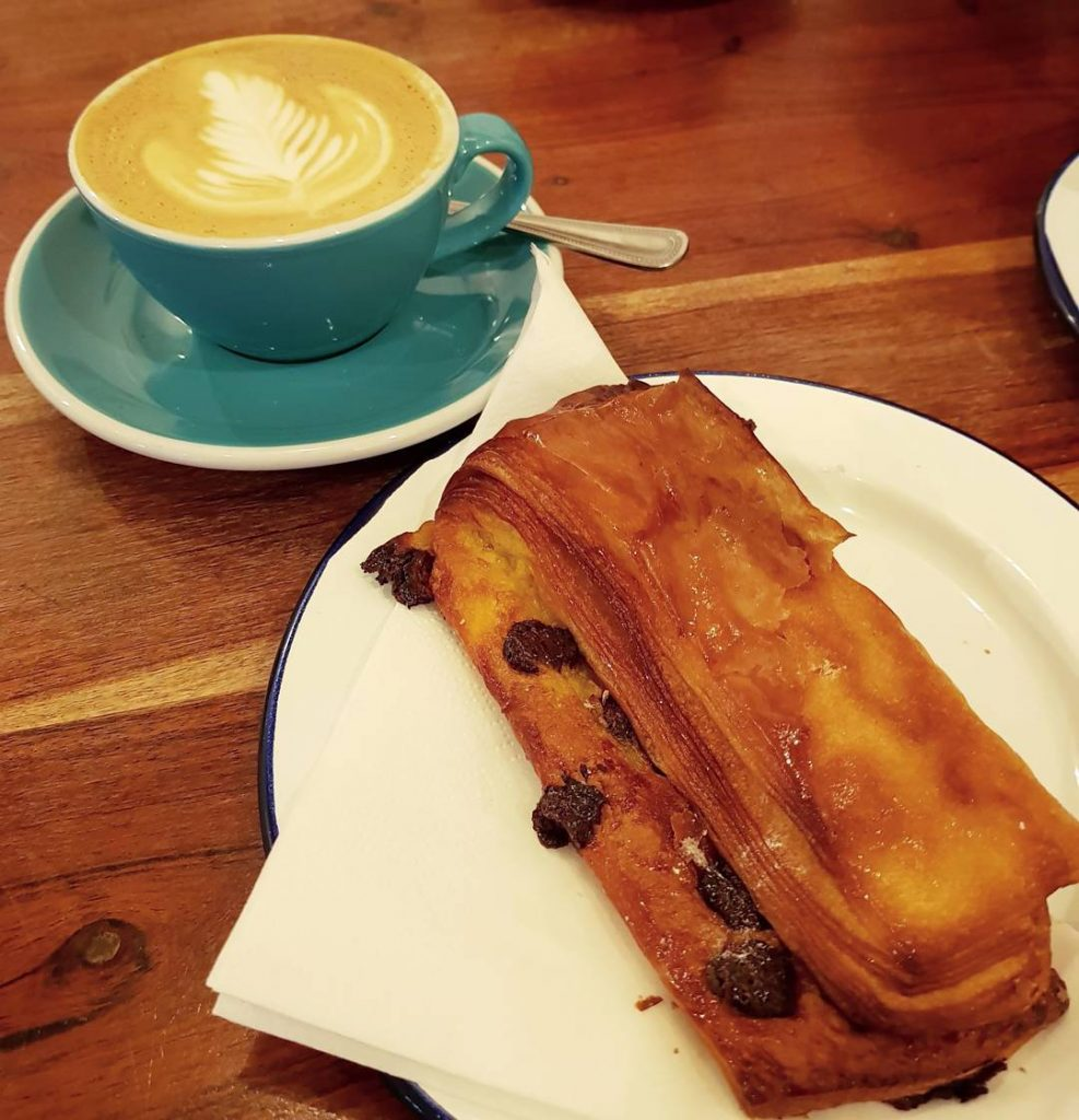 Lovely start to the daychocolate pastry and flat white fromhellip