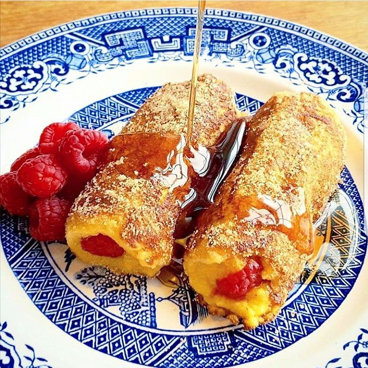 Brioche French toast raspberry rollups rolled in cinnamon sugar andhellip