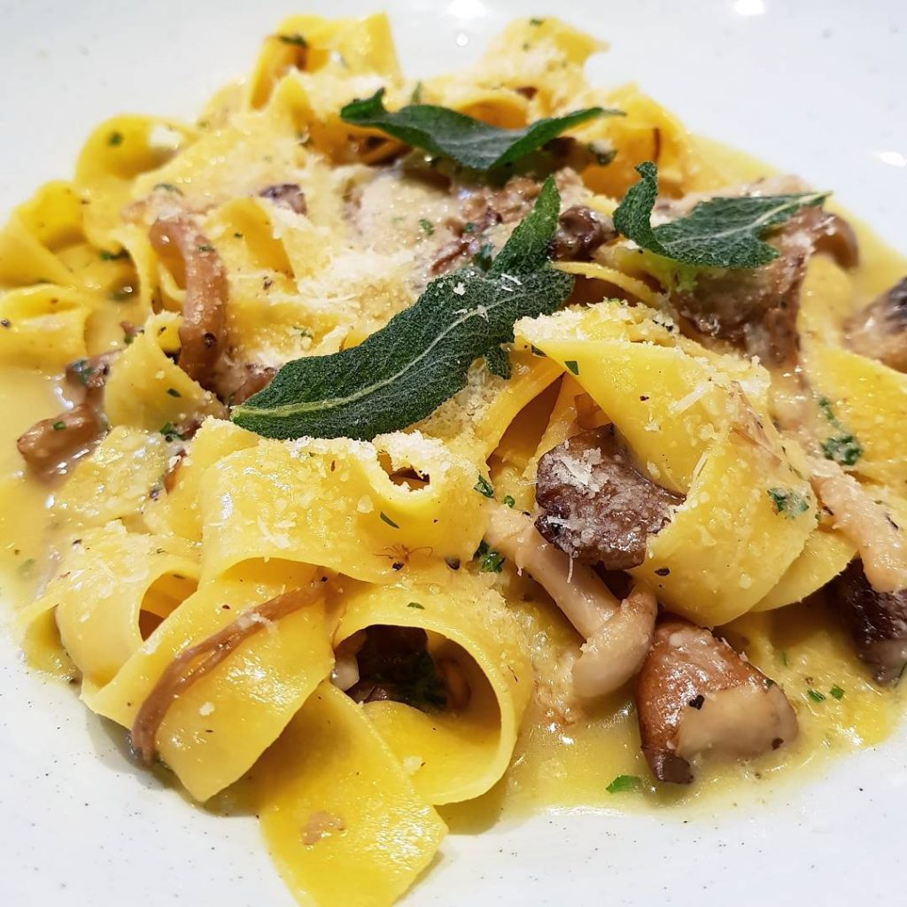 Silky Pappardelle Cacio e Pepe and Wild Mushrooms at eusebidelihellip